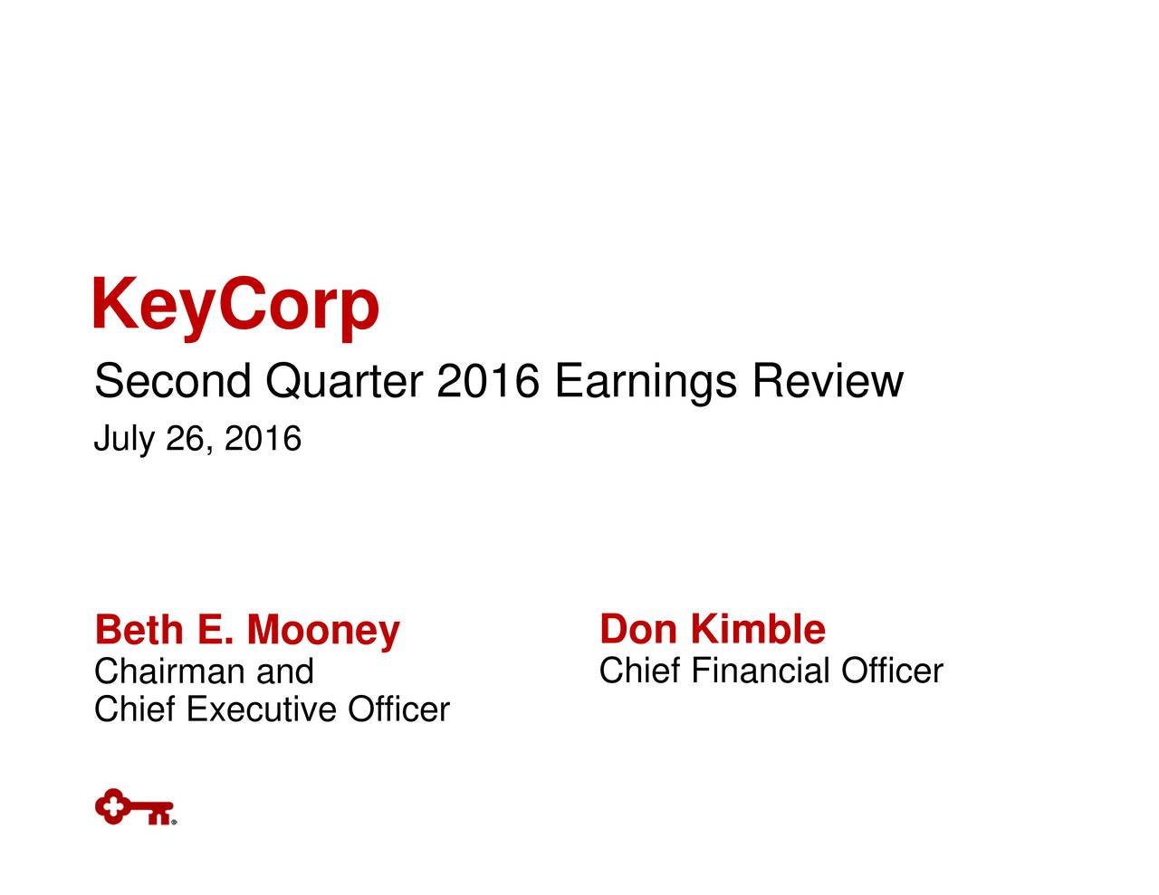 KeyCorpon26,2u16rter 2016 Earnings Review