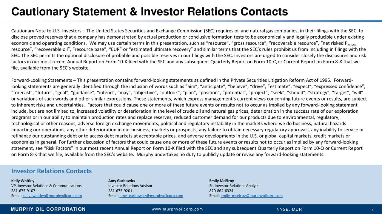 """Cautionary Note to U.S. Investors – The United States Securities and Exchange Commission (SEC) requires oil and natural gas companies, in their filings with the SEC, to disclose proved reserves that a company has demonstrated by actual production or conclusive formation tests to be economically and legally producible under existing economic and operating conditions. We may use certain terms in this presentation, such as """"resource"""", """"gross resource"""", """"recoverable resource"""", """"net risked P MEAN resource"""", """"recoverable oil"""", """"resource base"""", """"EUR"""" or """"estimated ultimate recovery"""" and similar terms that the SEC's rules prohibit us from including in filings with the SEC. The SEC permits the optional disclosure of probable and possible reserves in our filings with the SEC. Investors are urged to consider closely the disclosures and risk factors in our most recent Annual Report on Form 10-K filed with the SEC and any subsequent Quarterly Report on Form 10-Q or Current Report on Form 8-K that we file, available from the SEC's website. Forward-Looking Statements – This presentation contains forward-looking statements as defined in the Private Securities Litigation Reform Act of 1995. Forward- looking statements are generally identified through the inclusion of words such as """"aim"""", """"anticipate"""", """"believe"""", """"drive"""", """"estimate"""", """"expect"""", """"expressed confidence"""", """"forecast"""", """"future"""", """"goal"""", """"guidance"""", """"intend"""", """"may"""", """"objective"""", """"outlook"""", """"plan"""", """"position"""", """"potential"""", """"project"""", """"seek"""", """"should"""", """"strategy"""", """"target"""", """"will"""" or variations of such words and other similar expressions. These statements, which express management's current views concerning future events or results, are subject to inherent risks and uncertainties. Factors that could cause one or more of these future events or results not to occur as implied by any forward-looking statement include, but are not limited to, increased volatility or deterioration in the level of crude oil and natural gas prices, d"""