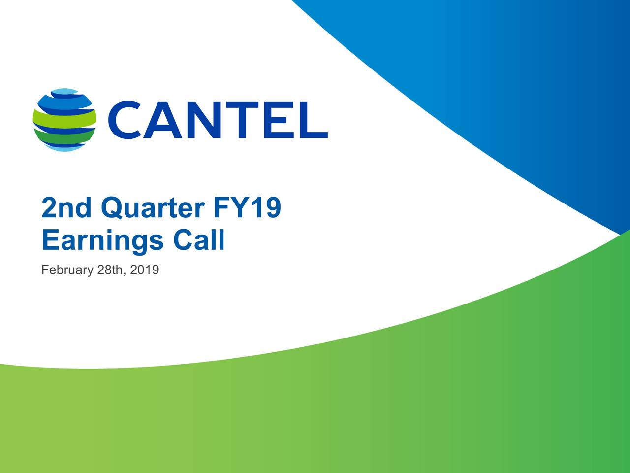 Earnings Call Slides: Cantel Medical Corporation 2019 Q2