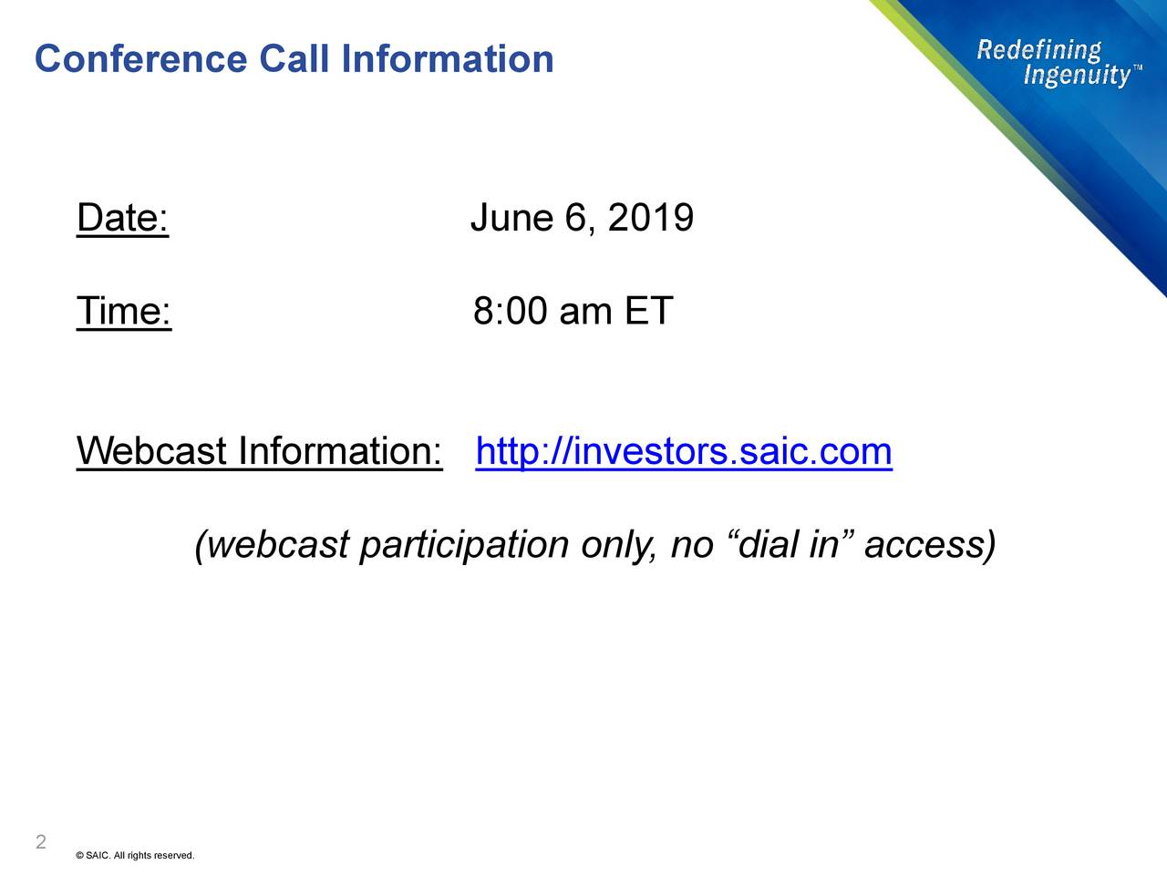 Conference Call Information