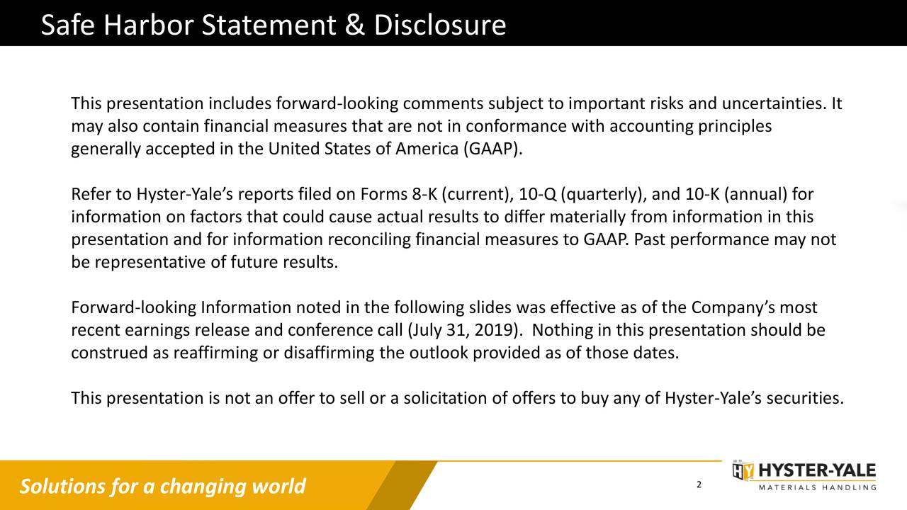 Safe Harbor Statement & Disclosure