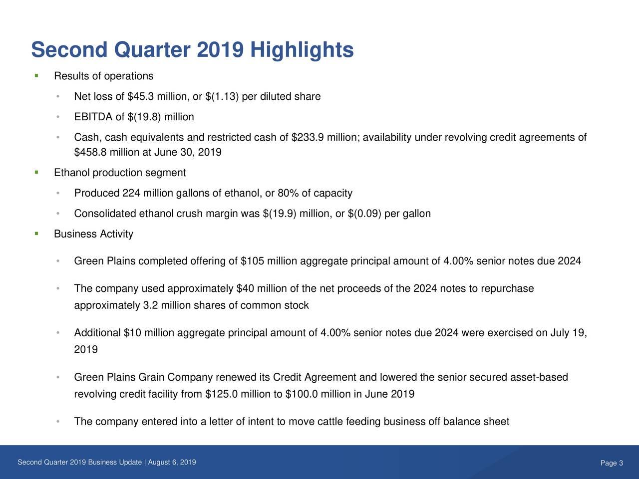 Second Quarter 2019 Highlights