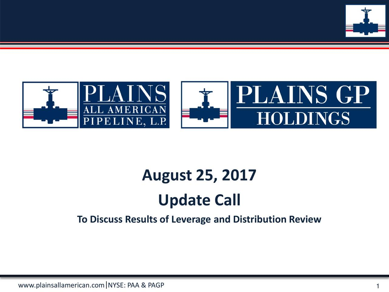 Update Call To Discuss Results of Leverage and Distribution Review