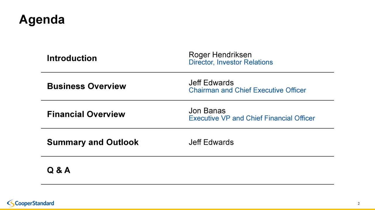 Roger Hendriksen Introduction Director, Investor Relations Business Overview Jeff Edwards Chairman and Chief Executive Officer Financial Overview Executive VP and Chief Financial Officer Summary and Outlook Jeff Edwards Q & A 2