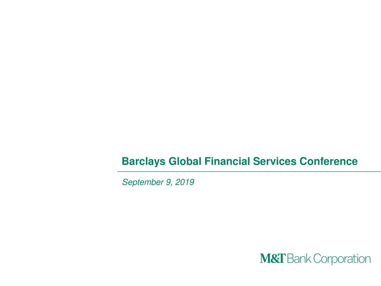 Barclays Global Financial Services Conference