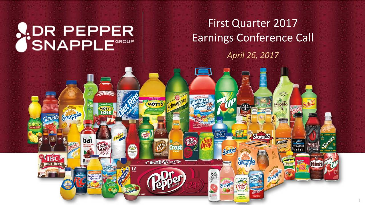 Earnings Disclaimer >> Dr Pepper Snapple Group, Inc. 2017 Q1 - Results - Earnings ...