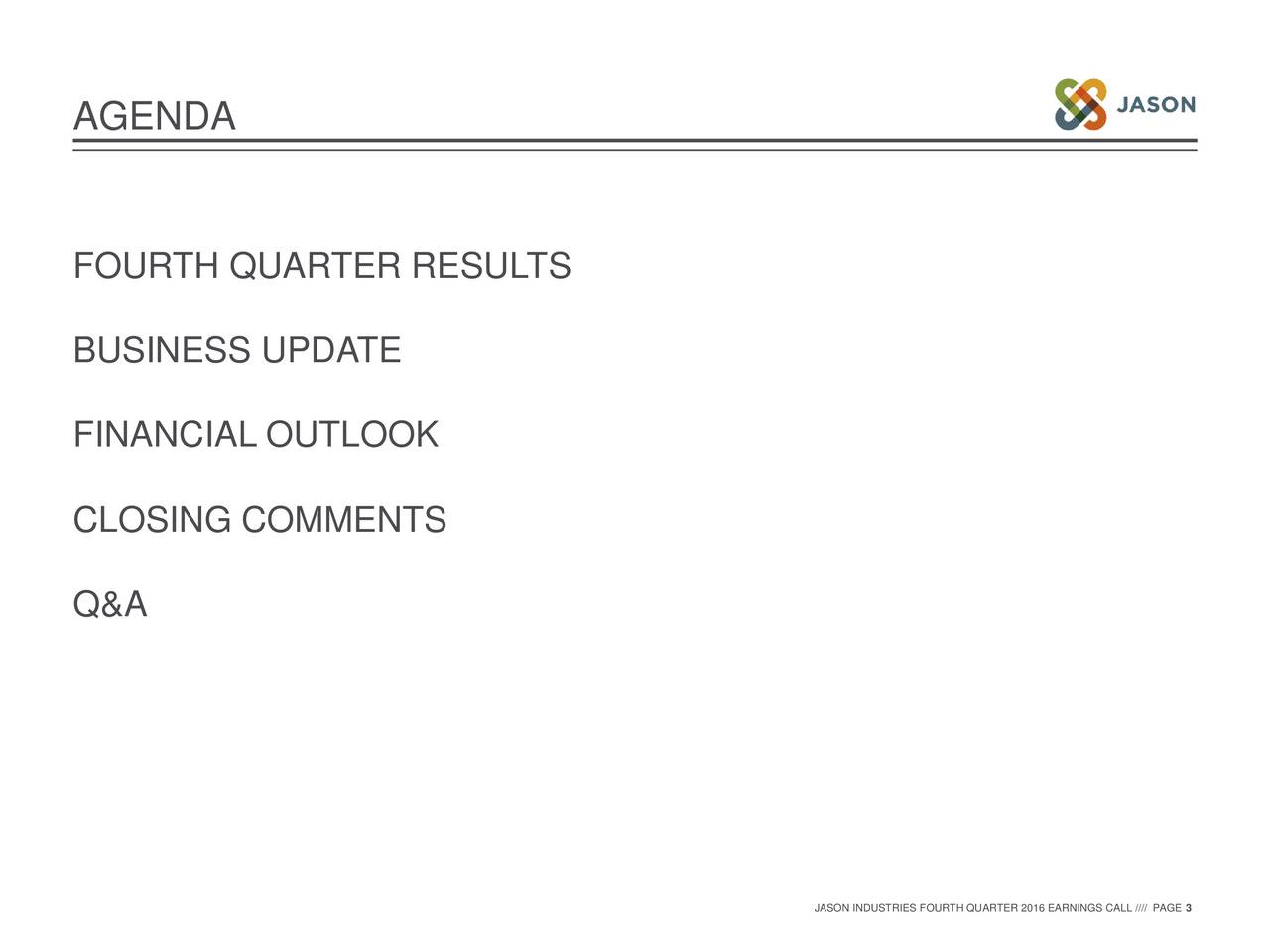 FOURTH QUARTER RESULTS BUSINESS UPDATE FINANCIAL OUTLOOK CLOSING COMMENTS Q&A JASON INDUSTRIES FOURTH QUARTER 2016 EARNINGS CALL //// PAGE 3