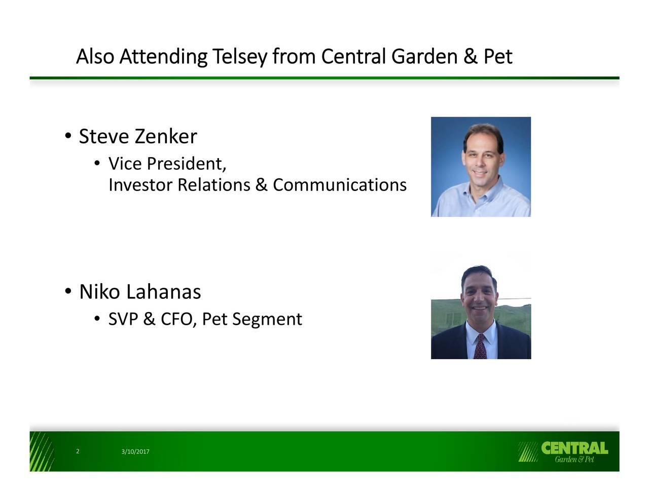 2017 steve zenker vice president investor relations communications niko lahanas svp cfo pet - Central Garden And Pet