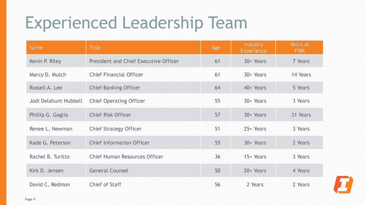 Equipo de liderazgo experimentado