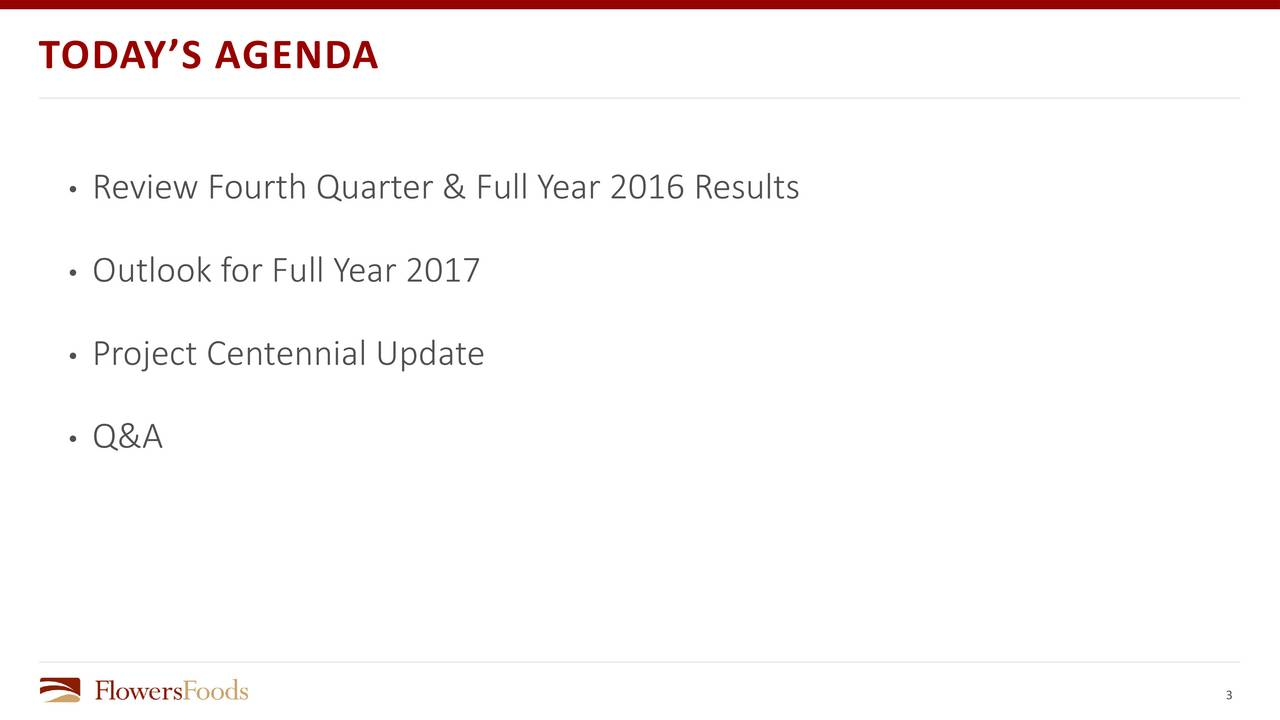 Review Fourth Quarter & Full Year 2016 Results Outlook for Full Year 2017 Project Centennial Update Q&A 3