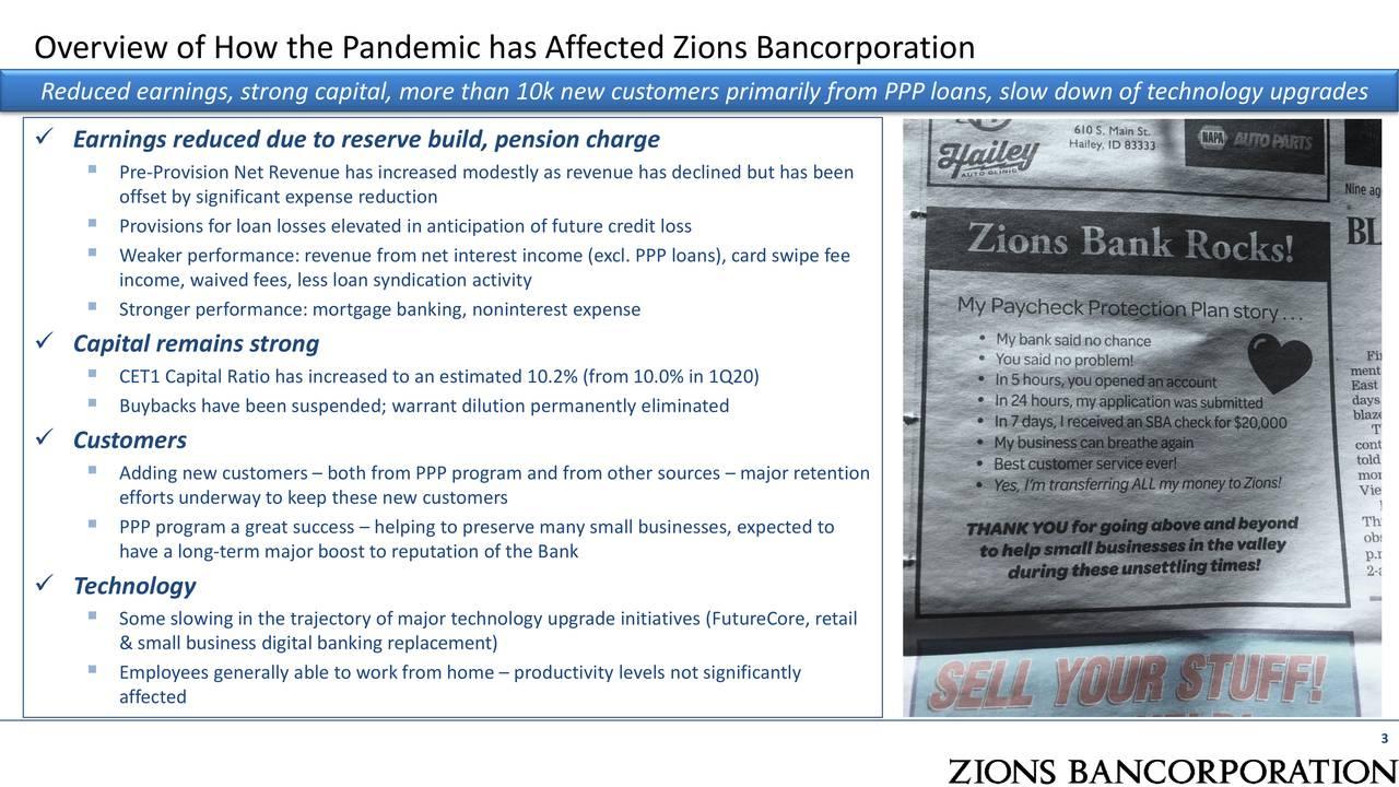 Resumen de cómo la pandemia ha afectado la bancorporación de Zions