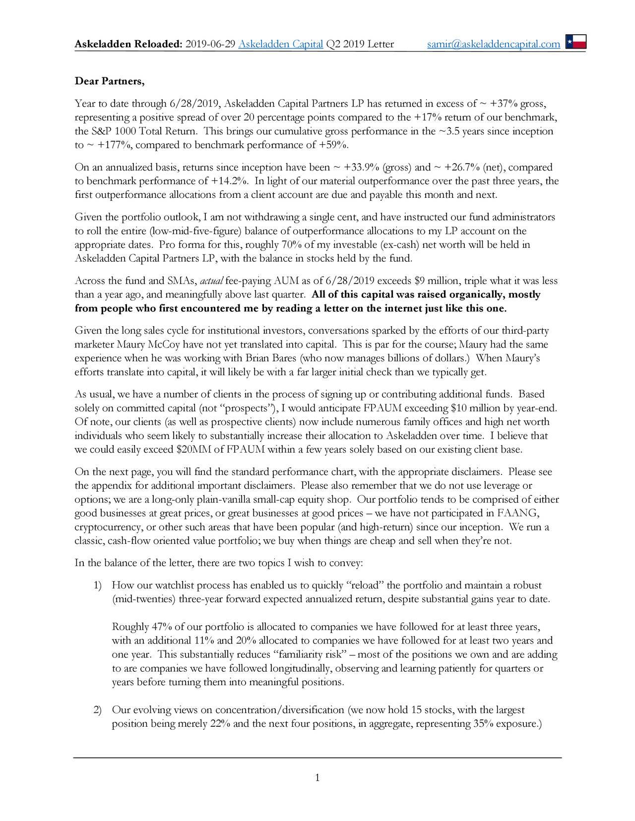 Askeladden Capital - Q2 2019 Letter | Seeking Alpha