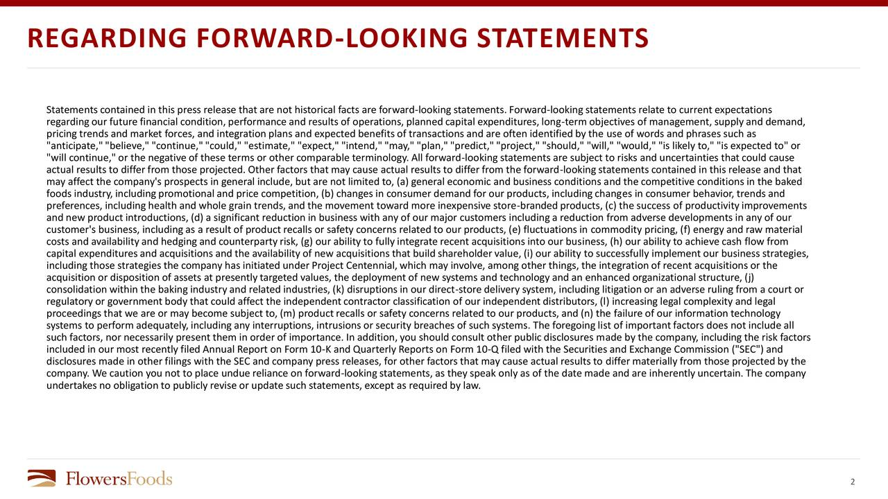 """Statementscontained in this press release that are not historical facts are forward-lookingstatements. Forward-lookingstatements relate to current expectations regardingour future financial condition,performance and results of operations,plannedcapital expenditures, long-term objectives of management, supplyand demand, pricing trends and market forces, and integrationplans and expected benefitsof transactions and are often identifiedby the use of words and phrases such as """"anticipate,""""""""believe,"""" """"continue,""""""""could,"""" """"estimate,"""" """"expect,"""" """"intend,""""""""may,"""" """"plan,""""""""predict,""""""""project,"""" """"should,"""" """"will,"""" """"would,"""" """"is likely to,"""" """"is expected to"""" or """"will continue,"""" or the negative of these terms or other comparable terminology. All forward-lookingstatements are subject to risks and uncertainties that could cause actual results to differfrom those projected. Other factors that may cause actual results to differfrom the forward-lookingstatements contained in this release and that may affect the company's prospects in general include, but are not limited to, (a) general economic and business conditions and the competitive conditions in the baked foods industry,includingpromotionaland price competition, (b) changes in consumer demand for our products, includingchanges in consumer behavior, trends and preferences, includinghealth and whole grain trends,and the movement toward more inexpensive store-brandedproducts, (c) the success of productivityimprovements and new product introductions, (d) a significant reductionin business with any of our major customers includinga reduction from adverse developments in any of our customer's business, includingas a result of product recalls or safety concerns related to our products, (e) fluctuationsin commodity pricing, (f) energy and raw material costs and availabilityand hedgingand counterpartyrisk, (g) our ability to fullyintegrate recent acquisitions into our business, (h) our ability to achieve cash flow from capital expenditures and """