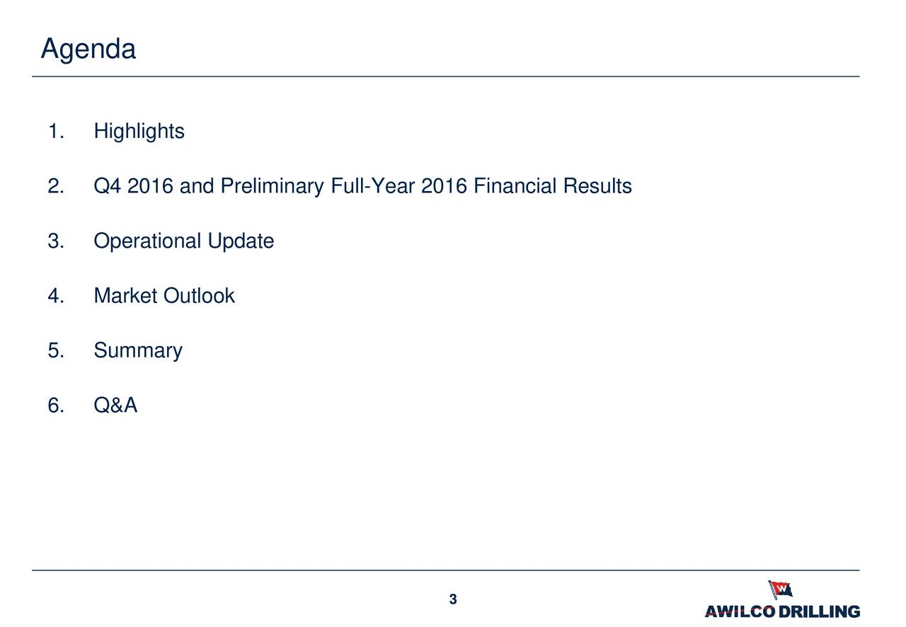 1. Highlights 2. Q4 2016 and Preliminary Full-Year 2016 Financial Results 3. Operational Update 4. Market Outlook 5. Summary 6. Q&A 3