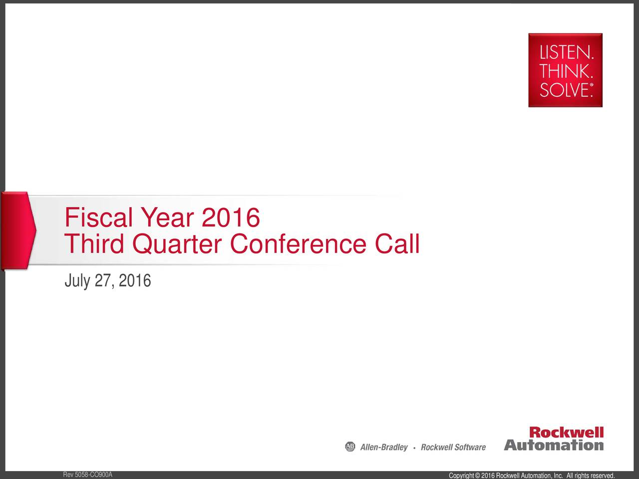 Third Quarter Conference Call July 27, 2016