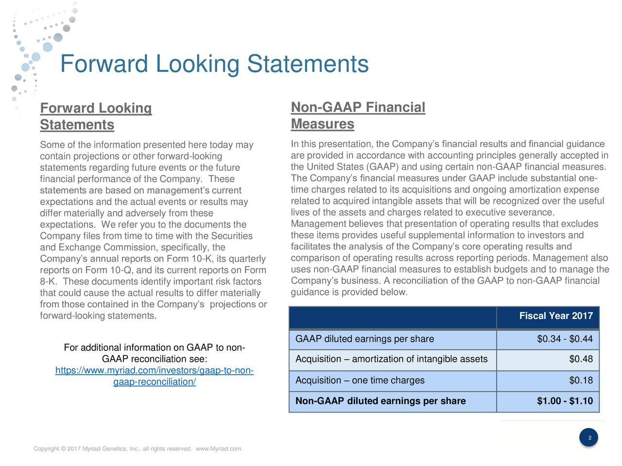 Forward Looking Non-GAAP Financial Statements Measures Some of the information presented here today may In this presentation, the Companys financial results and financial guidance contain projections or other forward-looking are provided in accordance with accounting principles generally accepted in statements regarding future events or the future the United States (GAAP) and using certain non-GAAP financial measures. financial performance of the Company. These The Companys financial measures under GAAP include substantial one- time charges related to its acquisitions and ongoing amortization expense statements are based on managements current expectations and the actual events or results may related to acquired intangible assets that will be recognized over the useful differ materially and adversely from these lives of the assets and charges related to executive severance. expectations. We refer you to the documents the Management believes that presentation of operating results that excludes Company files from time to time with the Securities these items provides useful supplemental information to investors and and Exchange Commission, specifically, the facilitates the analysis of the Companys core operating results and Companys annual reports on Form 10-K, its quarterly comparison of operating results across reporting periods. Management also uses non-GAAP financial measures to establish budgets and to manage the reports on Form 10-Q, and its current reports on Form 8-K. These documents identify important risk factors Companys business. A reconciliation of the GAAP to non-GAAP financial that could cause the actual results to differ materiallyguidance is provided below. from those contained in the Companys projections or forward-looking statements. Fiscal Year 2017 GAAP diluted earnings per share $0.34 - $0.44 For additional information on GAAP to non- GAAP reconciliation see: Acquisition  amortization of intangible assets $0.48 https://www.myriad.com/investors/gaap-to-non- gaap-reconciliation/ Acquisition  one time charges $0.18 Non-GAAP diluted earnings per share $1.00 - $1.10 2 Copyright  2017 Myriad Genetics, Inc., all rights reserved. www.Myriad.com.