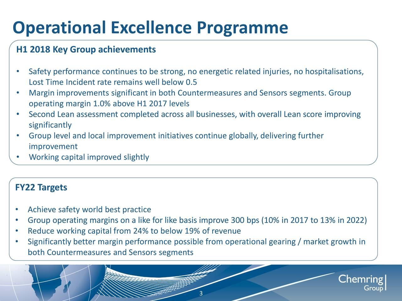 H1 2018 Key Group achievements • Safety performance continues to be strong, no energetic related injuries, no hospitalisations, Lost Time Incident rate remains well below 0.5 • Margin improvements significant in both Countermeasures and Sensors segments. Group operating margin 1.0% above H1 2017 levels • Second Lean assessment completed across all businesses, with overall Lean score improving significantly • Group level and local improvement initiatives continue globally, delivering further improvement • Working capital improved slightly FY22 Targets • Achieve safety world best practice • Group operating margins on a like for like basis improve 300 bps (10% in 2017 to 13% in 2022) • Reduce working capital from 24% to below 19% of revenue • Significantly better margin performance possible from operational gearing / market growth in both Countermeasures and Sensors segments 3