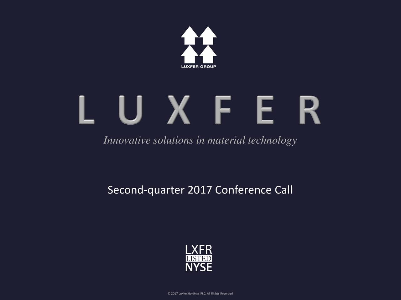 Second-quarter 2017 Conference Call LUXFER GROUP  2017 Luxfer Holdings PLC, All Rights Reserved 1