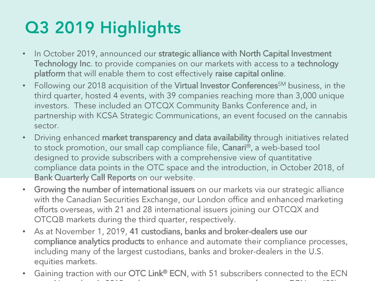 OTC Markets Group Inc. 2019 Q3 - Results - Earnings Call Presentation - OTC Markets Group Inc ...