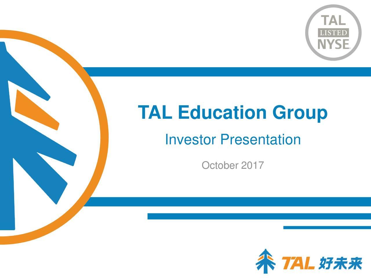 Education Group Investor Presentation October 2017