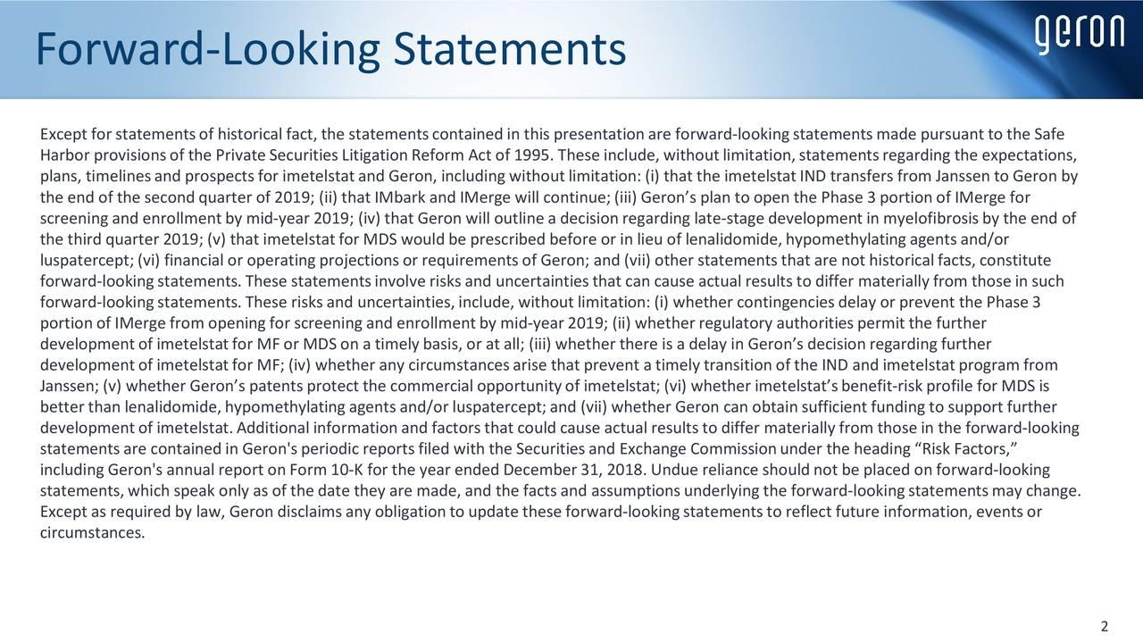 Forward-Looking Statements