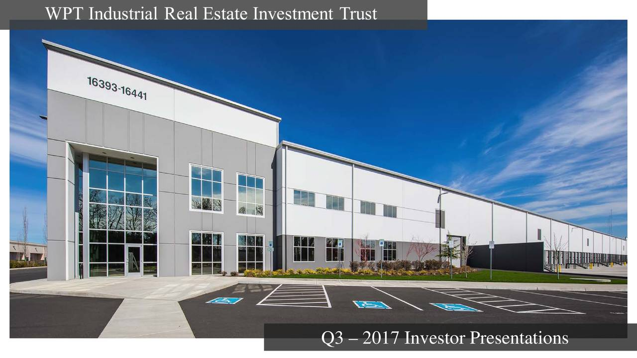 Real Estate Investment Trust : Wpt industrial real estate investment trust q