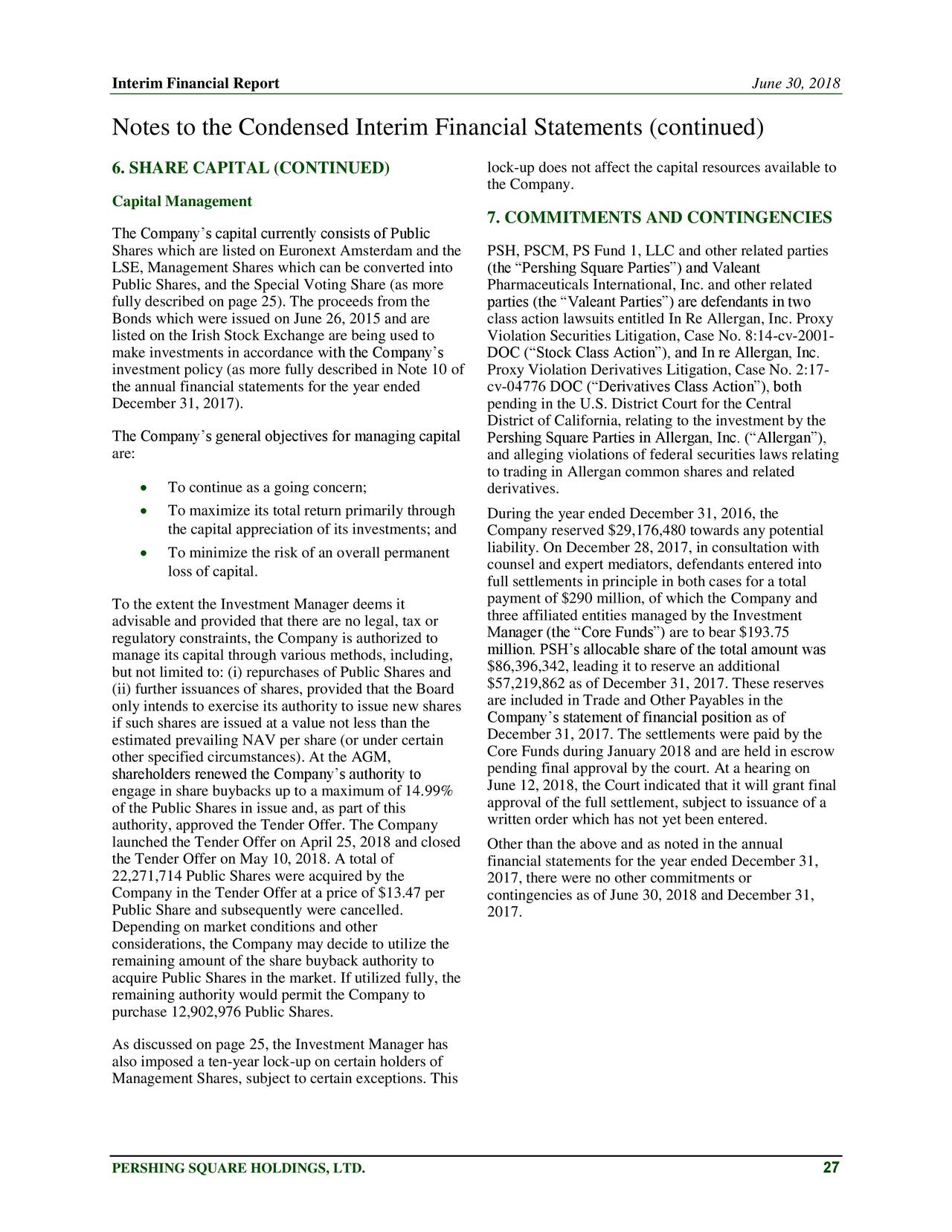 pershing square  bill ackman  2018 interim financial statements