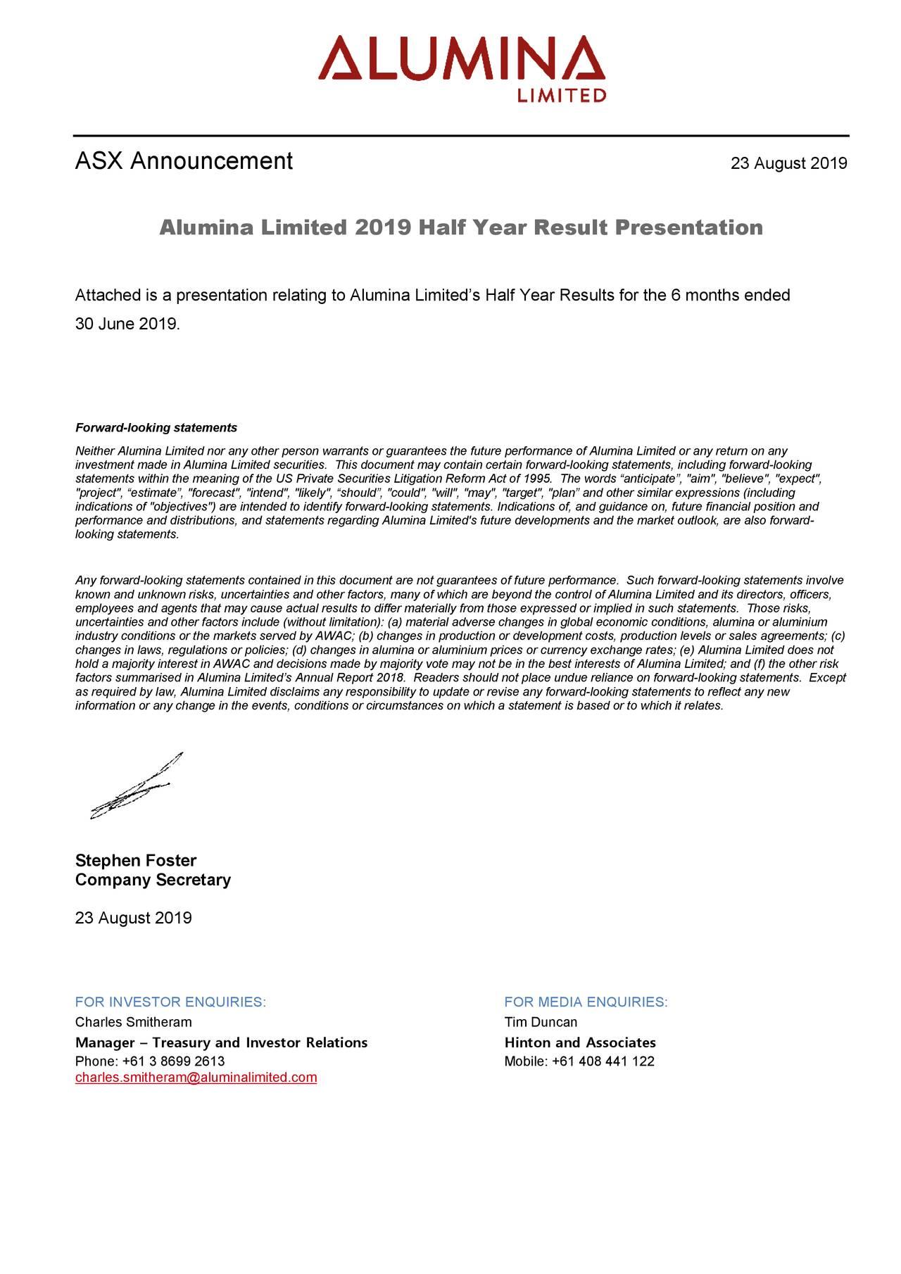 Alumina Limited 2019 Q2 - Results - Earnings Call Slides