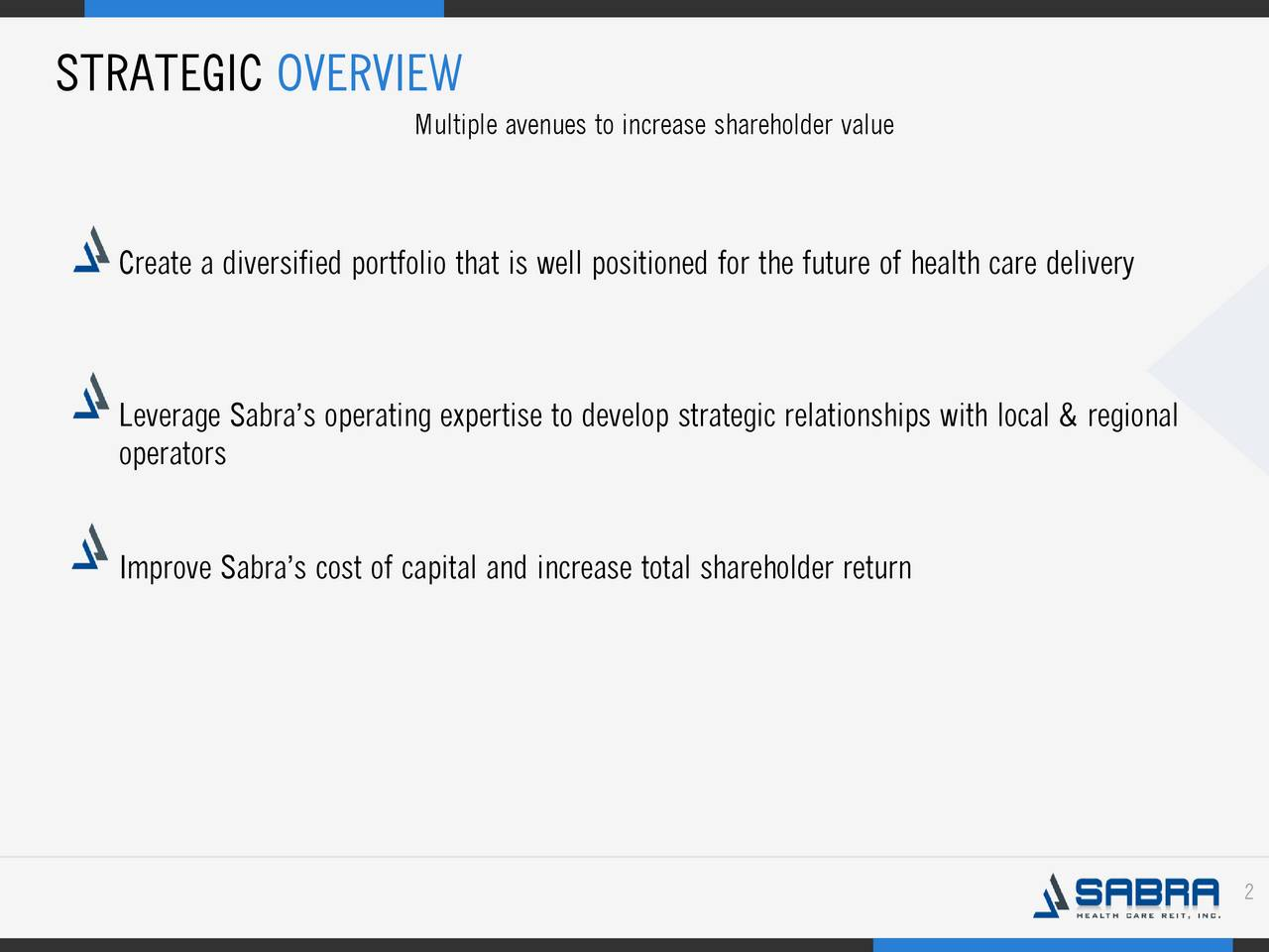 Multiple avenues to increase shareholder value Create a diversified portfolio that is well positioned for the future of health care delivery Leverage Sabras operating expertise to develop strategic relationships with local & regional . operators Improve Sabras cost of capital and increase total shareholder return 2
