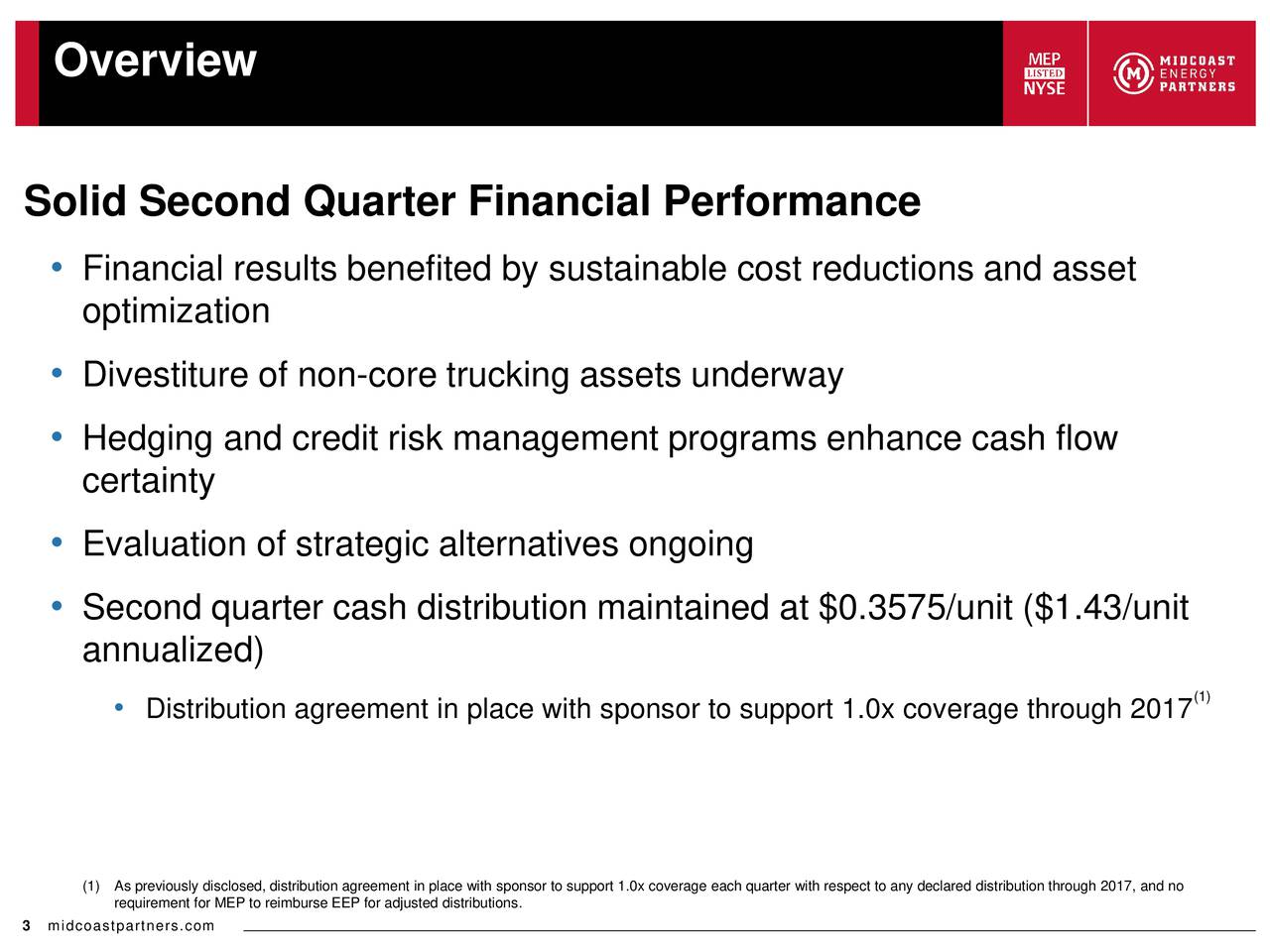 Solid Second Quarter Financial Performance Financial results benefited by sustainable cost reductions and asset optimization Divestiture of non-core trucking assets underway Hedging and credit risk management programs enhance cash flow certainty Evaluation of strategic alternatives ongoing Second quarter cash distribution maintained at $0.3575/unit ($1.43/unit annualized) Distribution agreement in place with sponsor to support 1.0x coverage through 2017(1) (1As previously disclosed, distribution agreement in place with sponsor to support 1.0x coverage each quarter with respect to any declared distribution through 2017, and no 3 midcoastpartners.com MEP to reimburse EEP for adjusted distributions.