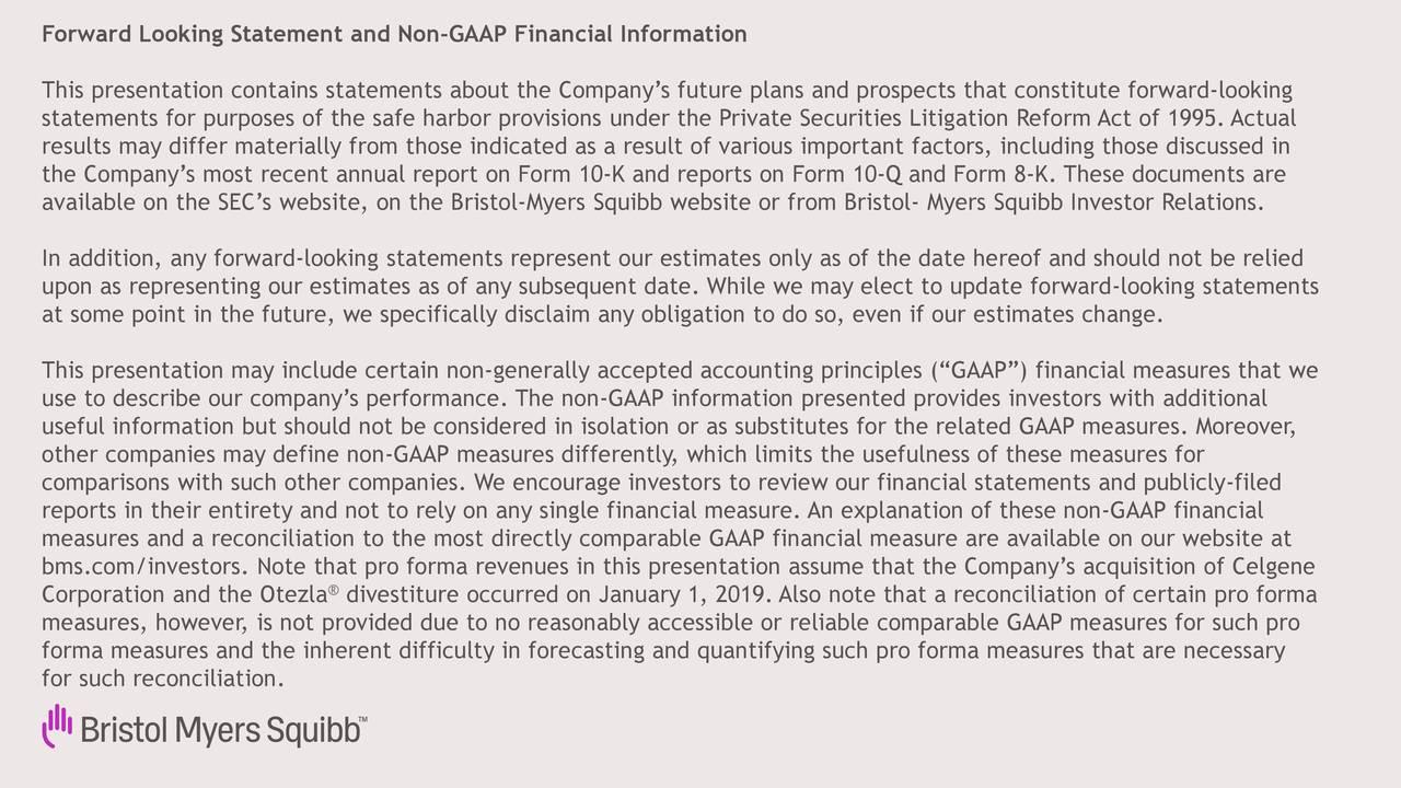 Declaración a futuro e información financiera no GAAP