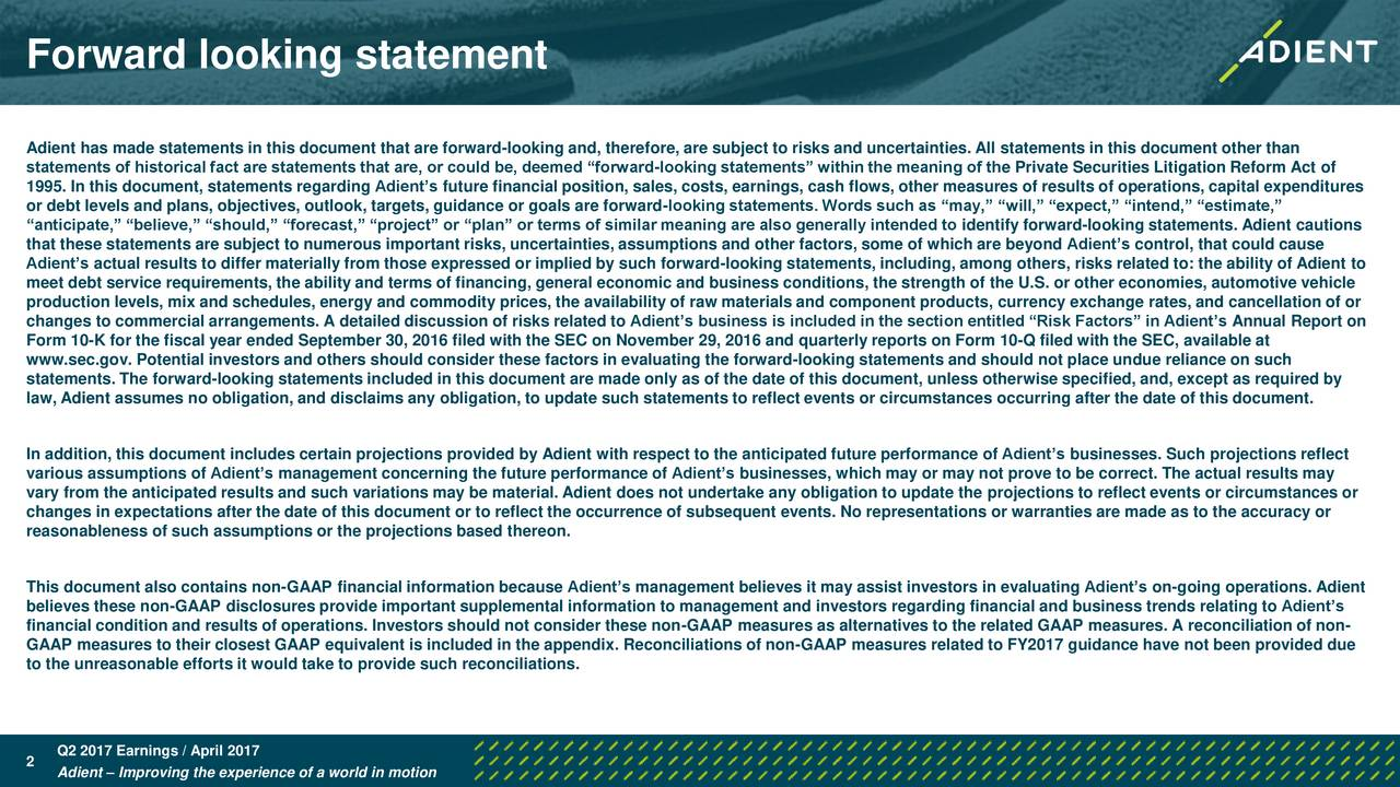 Adient plc 2017 q2 results earnings call slides for Therefore document management price