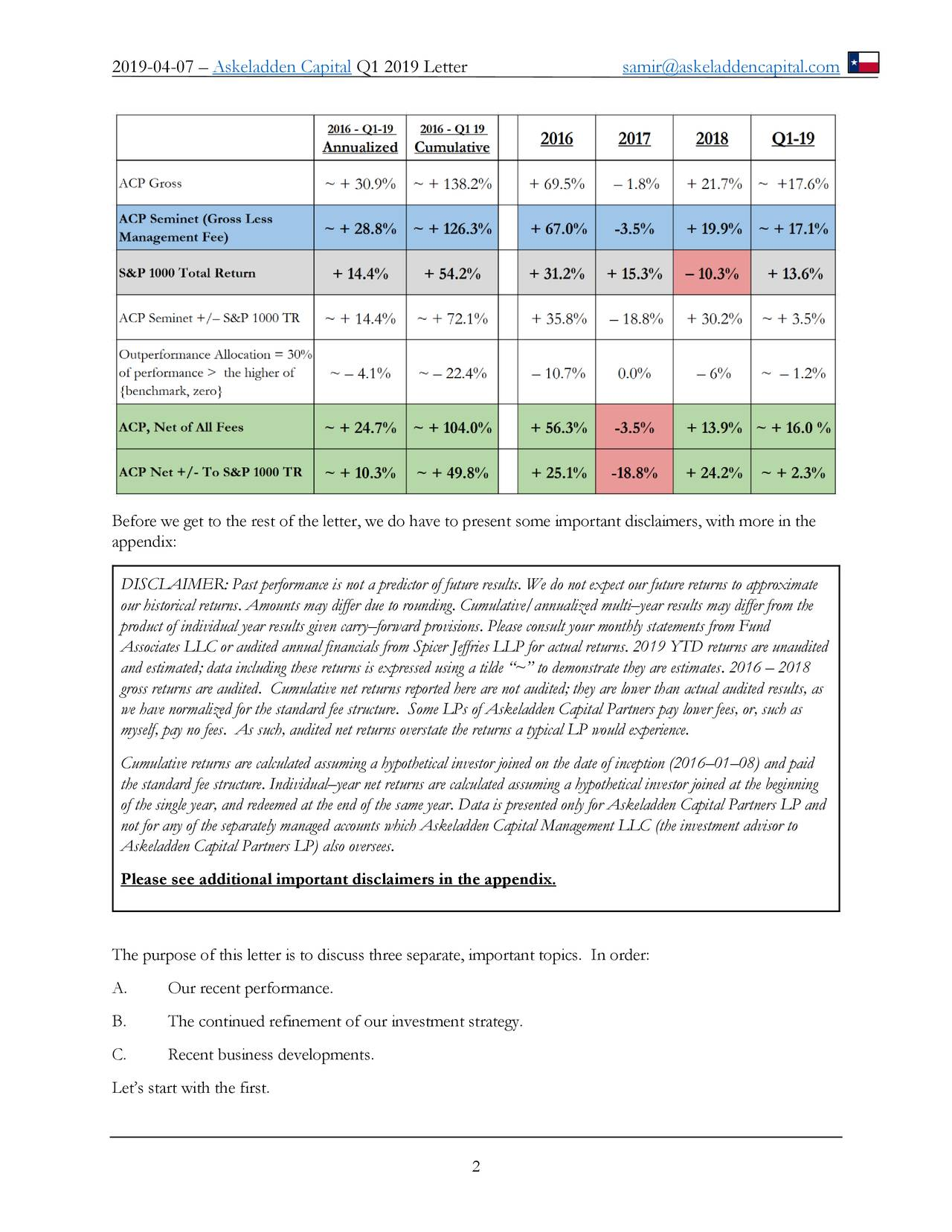 """Before we get to the rest of the letter, we do have to present some important disclaimers, with more in the appendix: DISCLAIMER: Past performance is not a predictor of future results. We do not expect our future returns to approximate our historical returns. Amounts may differ due to rounding. Cumulative/annualized multi–year results may differ from the product of individual year results given carry–forward provisions. Please consult your monthly statements from Fund Associates LLC or audited annual financials from Spicer Jeffries LLP for actual returns. 2019 YTD returns are unaudited and estimated; data including these returns is expressed using a tilde """"~"""" to demonstrate they are estimates. 2016 – 2018 gross returns are audited. Cumulative net returns reported here are not audited; they are lower than actual audited results, as we have normalized for the standard fee structure. Some LPs of Askeladden Capital Partners pay lower fees, or, such as myself, pay no fees. As such, audited net returns overstate the returns a typical LP would experience. Cumulative returns are calculated assuming a hypothetical investor joined on the date of inception (2016–01–08) and paid the standard fee structure. Individual–year net returns are calculated assuming a hypothetical investor joined at the beginning of the single year, and redeemed at the end of the same year. Data is presented only for Askeladden Capital Partners LP and not for any of the separately managed accounts which Askeladden Capital Management LLC (the investment advisor to Askeladden Capital Partners LP) also oversees. Please see additional important disclaimers in the appendix. The purpose of this letter is to discuss three separate, important topics. In order: A. Our recent performance. B. The continued refinement of our investment strategy. C. Recent business developments. Let's start with the first. 2"""