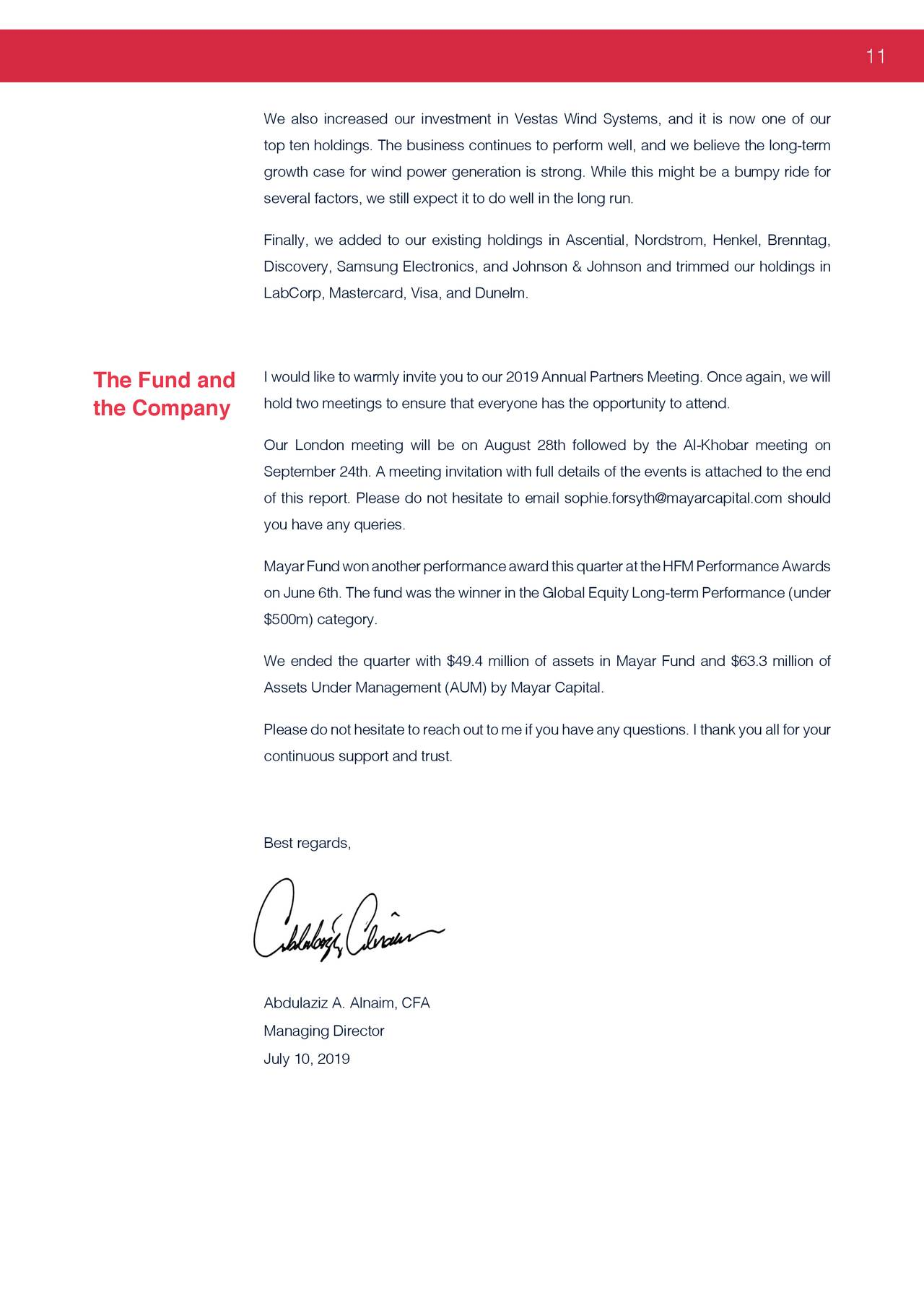 Mayar Fund's Q2 2019 Letter To Partners | Seeking Alpha