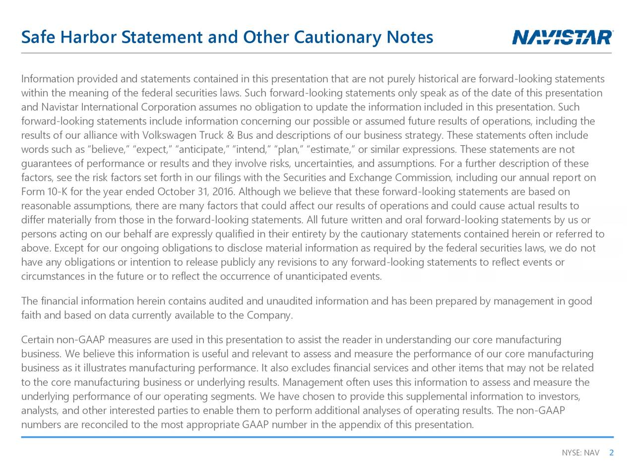 Safe Harbor Statement and Other Cautionary Notes
