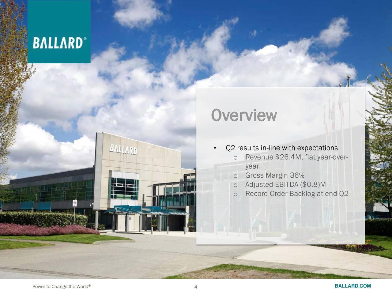Ballard Power Systems, Inc  2018 Q2 - Results - Earnings