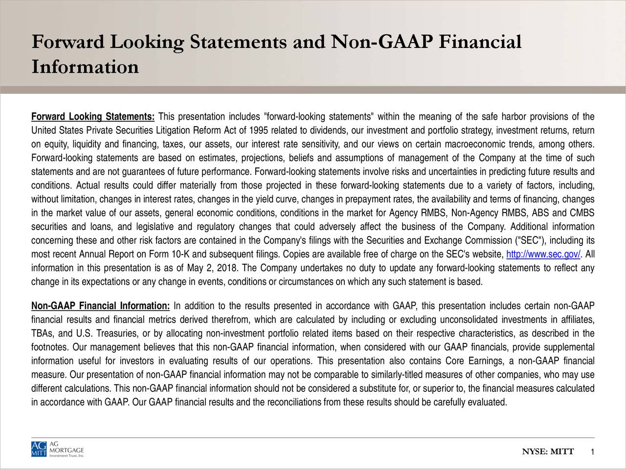 Forward Looking Statements and Non-GAAP Financial