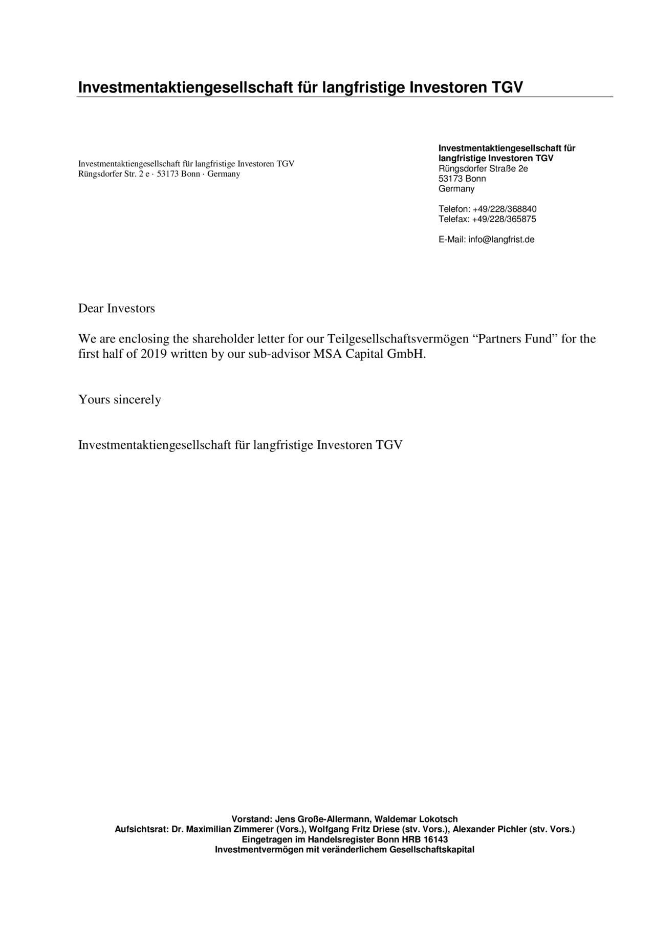 Investmentaktiengesellschaft für langfristige Investoren TGV