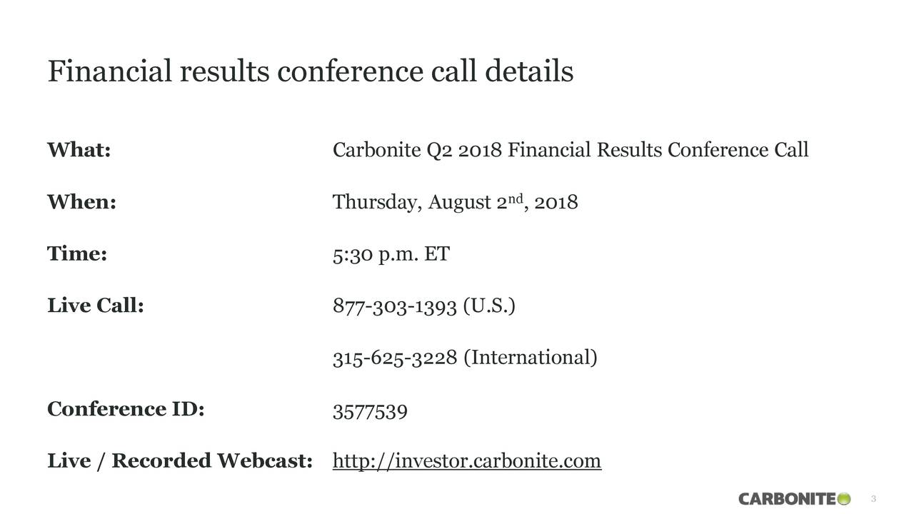 Financial results conference call details