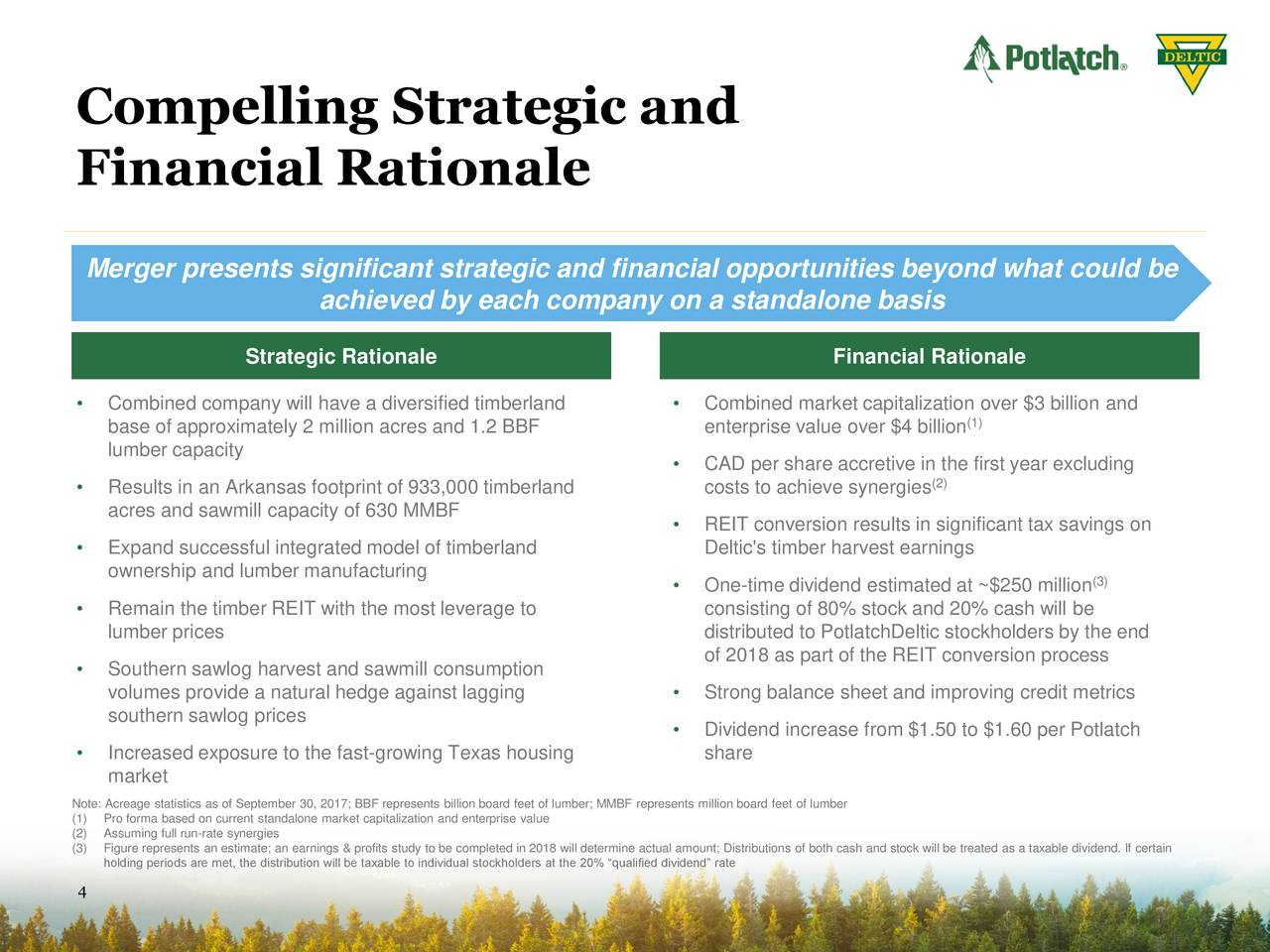 Potlatch (PCH) To Merge With Deltic Timber (DEL) - Slideshow
