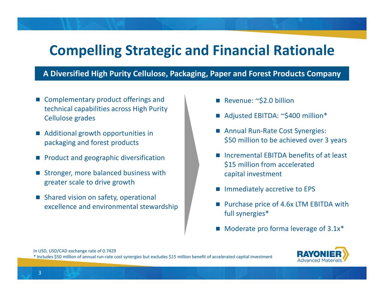 rgies but excludes $15 million benefit of accelerat Compelling Strategic and Financial Rationale A Diversified High Purity Cellulose, Packaging, Papeersaiwiyoopmeintolntlewardship In*n,ud/$50mxianfrneaf.n-r2a9te cost syne