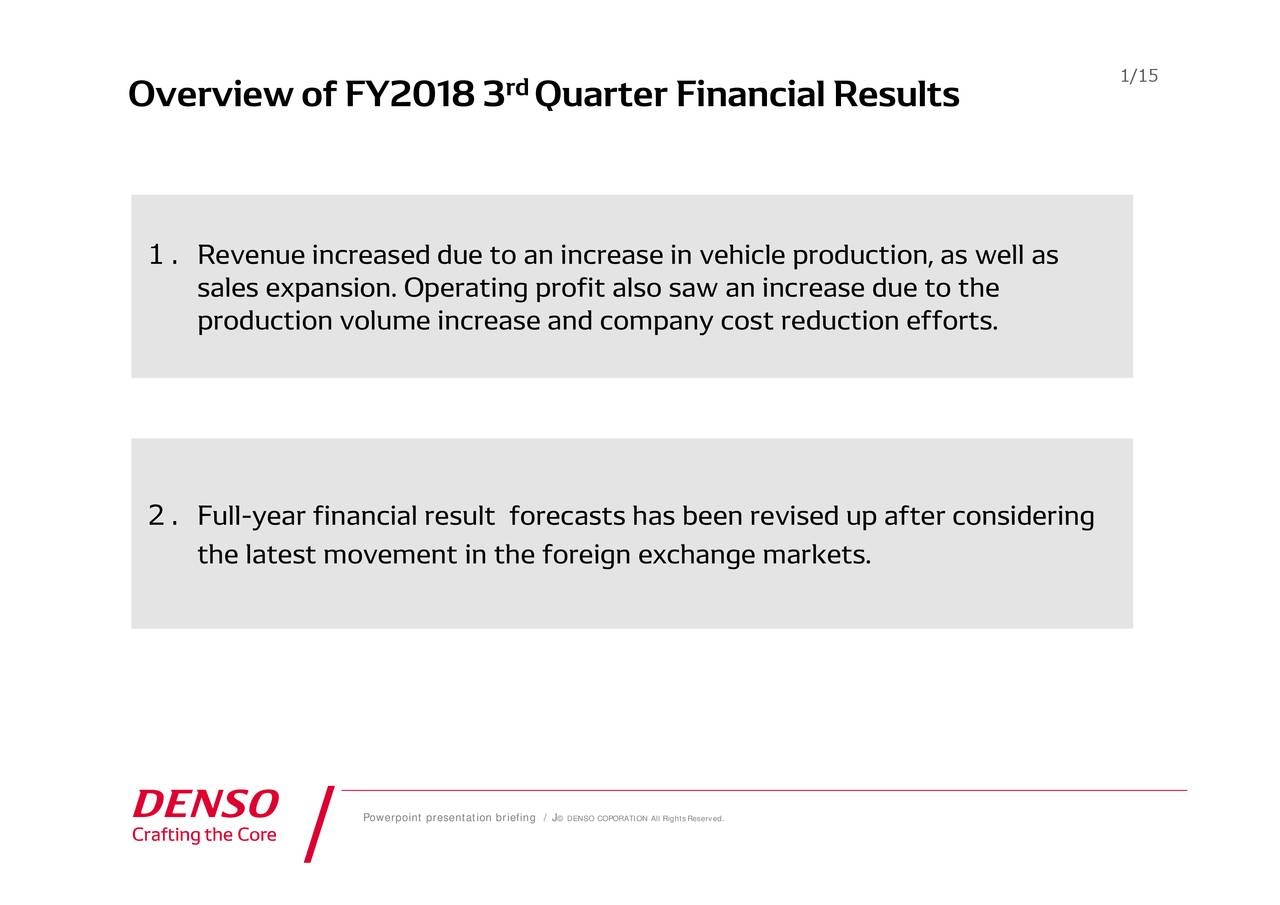 has been revised up after considering Quarter Financial Results © DENSO COPORATION All RightsReserved. rd Powerpoint presentation briefing / J Resveesedxpatinono.uFueltaneifiransicorsphlalorecareseidn exchange markets. Overview of FY2018 3 2.