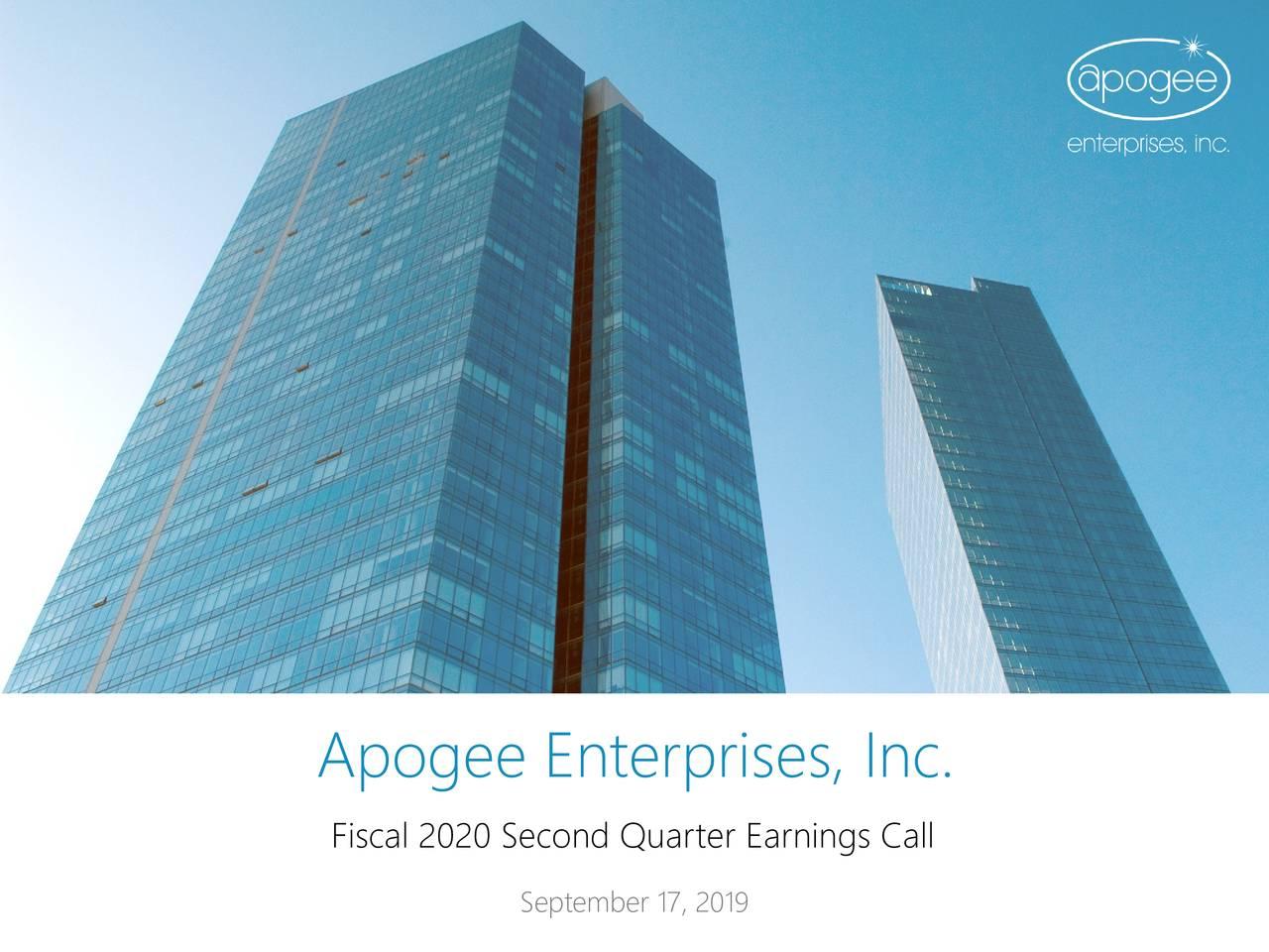 Apogee Enterprises, Inc. 2020 Q2 - Results - Earnings Call Slides