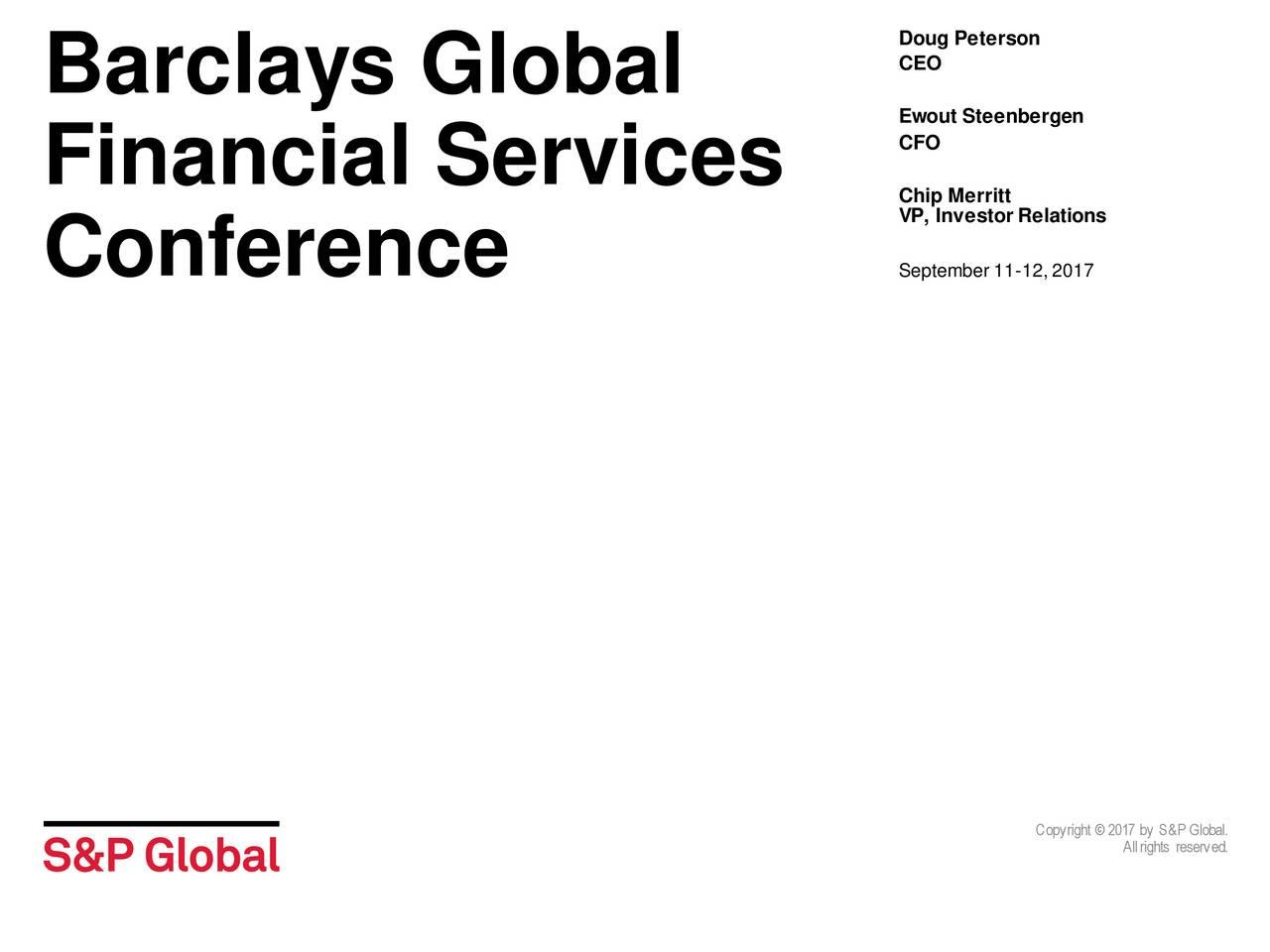S&P Global (SPGI) Presents At Barclays 2017 Global