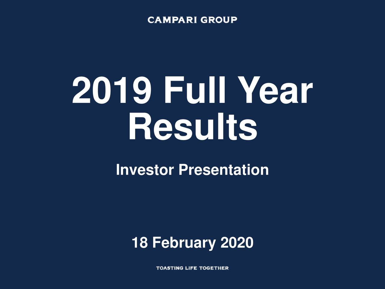 Davide Campari-Milano S.p.A. 2019 Q4 - Results - Earnings Call Presentation - Davide Campari-Milano S.p.A. (OTCMKTS:DVDCF) | Seeking Alpha