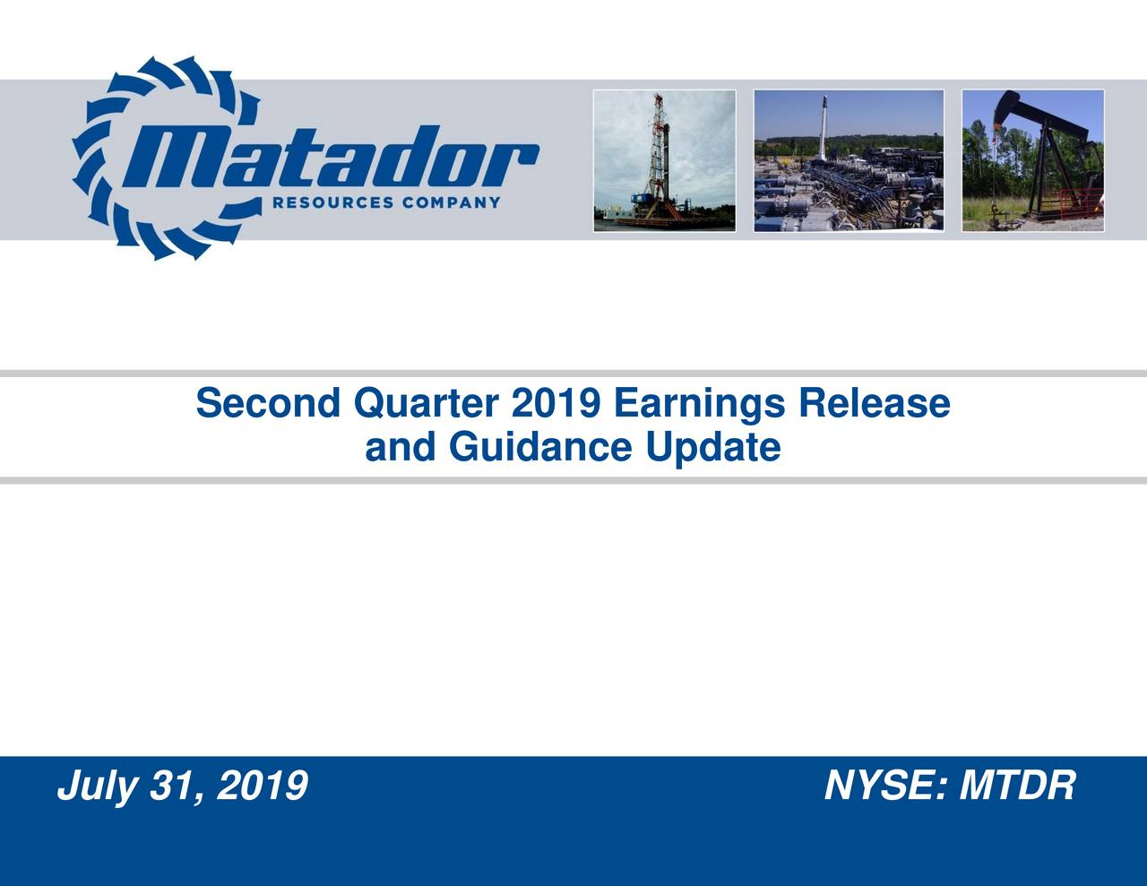 Second Quarter 2019 Earnings Release