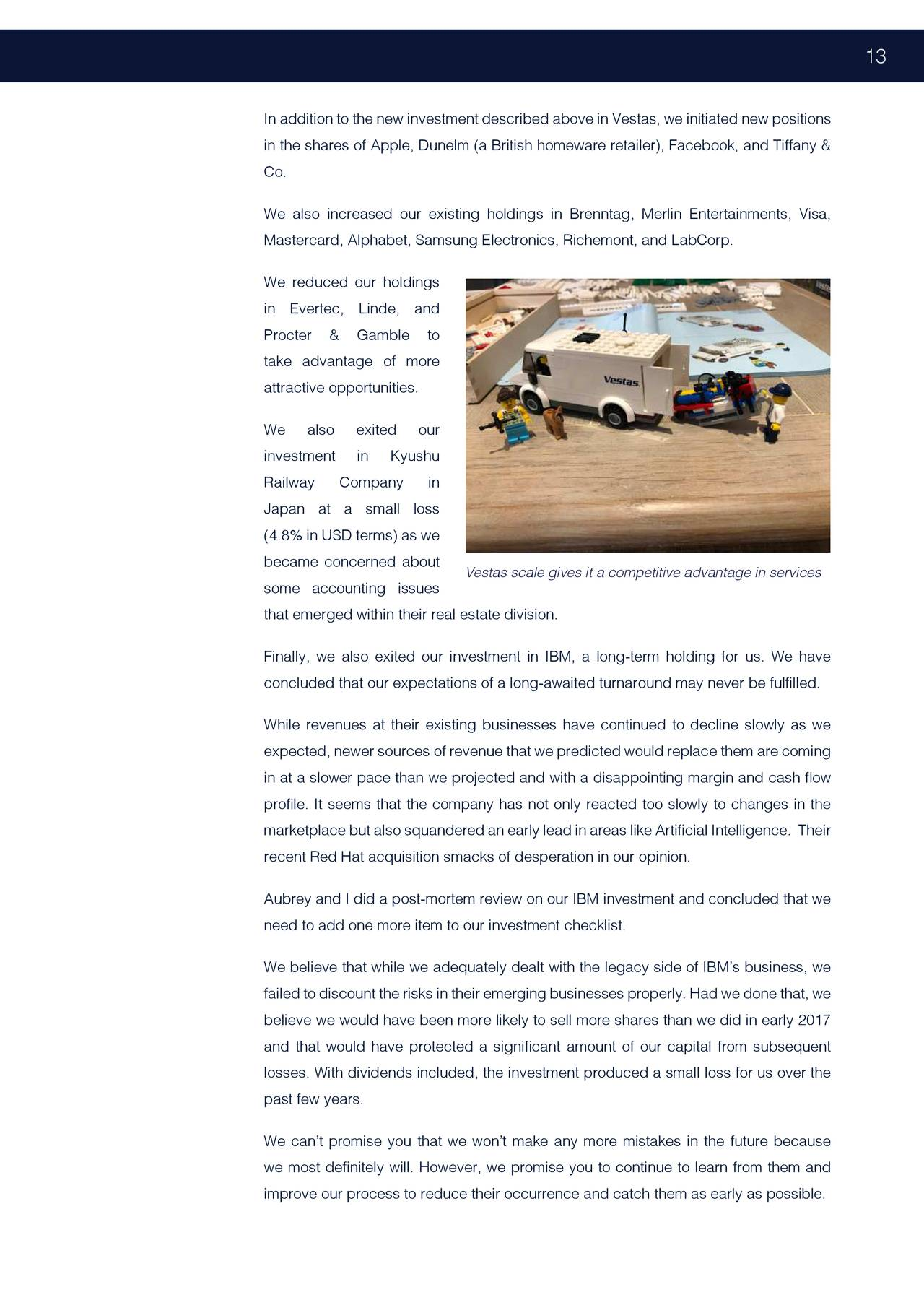 Mayar Fund Letter To Partners Calendar Year 2018 - Vestas