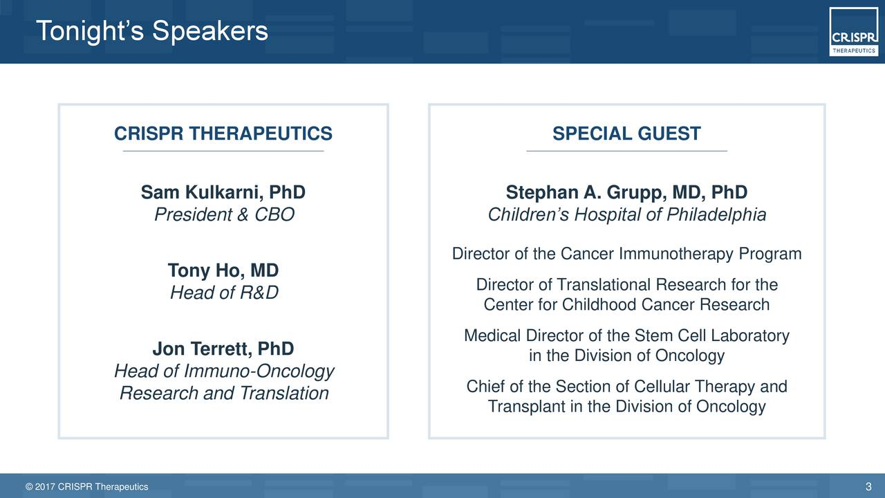 CRISPR Therapeutics (CRSP) Presents At Society for Immunotherapy of