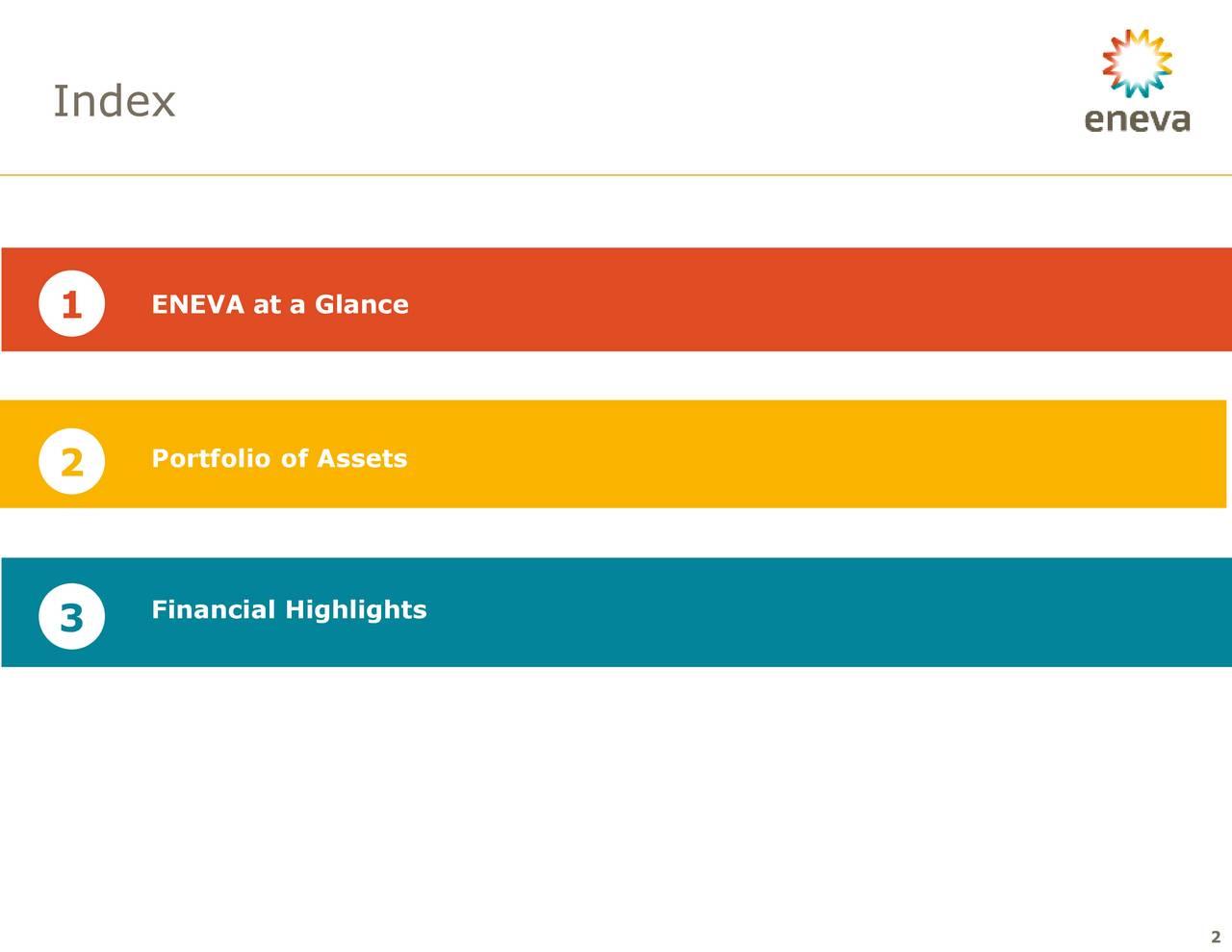 1 ENEVA at a Glance 2 Portfolio of Assets 3 Financial Highlights