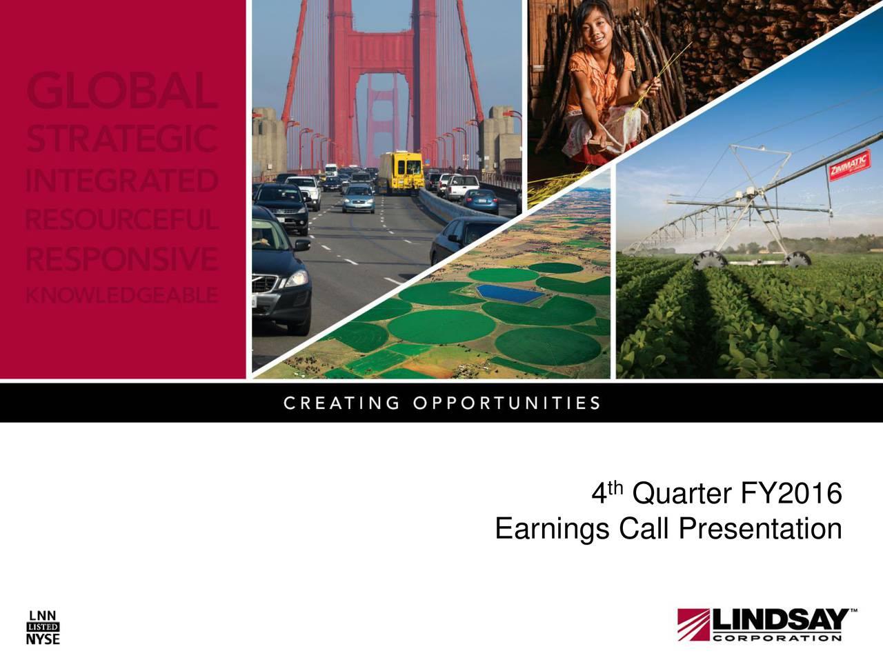 Earnings Call Presentation 4 Quarter FY2016 Earnings Call Presentat1on